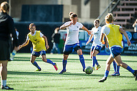 Seattle, WA - Saturday, July 02, 2016: Seattle Reign FC defender Rachel Corsie (4) prior to a regular season National Women's Soccer League (NWSL) match between the Seattle Reign FC and the Boston Breakers  at Memorial Stadium.