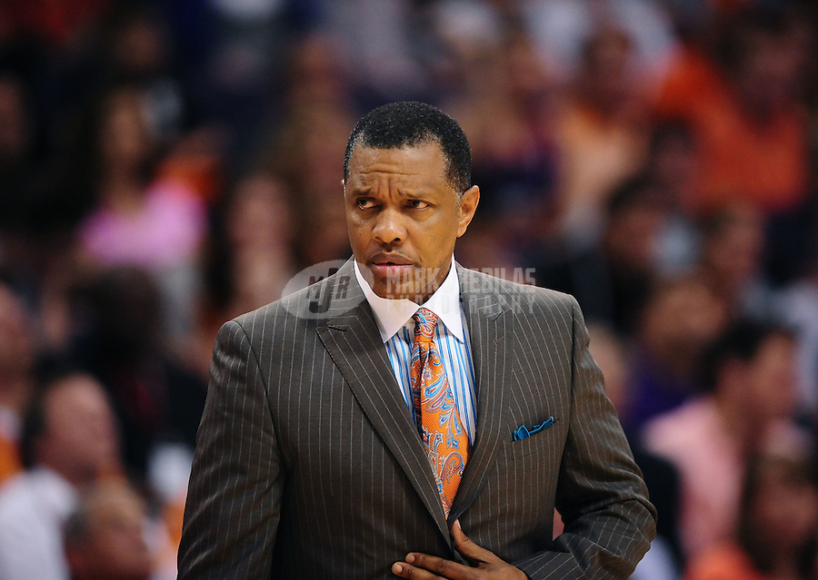 Mar. 30, 2011; Phoenix, AZ, USA; Phoenix Suns head coach Alvin Gentry against the Oklahoma City Thunder at the US Airways Center. Mandatory Credit: Mark J. Rebilas-.