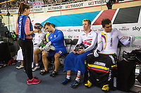 06 DEC 2014 - STRATFORD, LONDON, GBR - Jason Kenny (GBR) (second from the left) from Great Britain waits for the start of the Men's Keirin final flanked by Christos Volikakis (GRE) (left) from Greece and Fabian Hernando Puerta Zapata (COL) (right) from Colombia at the 2014 UCI Track Cycling World Cup in the Lee Valley Velo Park in Stratford, London, Great Britain (PHOTO COPYRIGHT © 2014 NIGEL FARROW, ALL RIGHTS RESERVED)