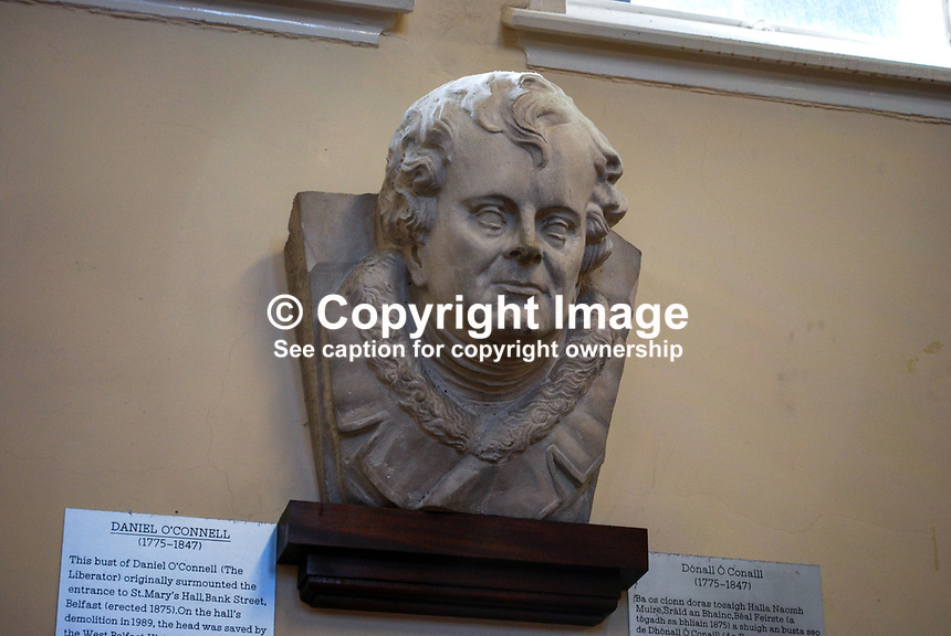 Bust of Daniel O'Connell, The Liberator, which originally adorned the entrance to St Mary's Hall, Bank Street, Belfast, N Ireland, UK. On the hall's demolition in 1989 it was saved by the West Belfast Historical Society and re-erected in St Malachy's College, also in Belfast. 200903312064.<br /> <br /> Copyright Image from Victor Patterson,<br /> 54 Dorchester Park, <br /> Belfast, UK, BT9 <br /> <br /> t1: +44 28 9066 1296 (from Rep of Ireland 048 90661296)<br /> t2: +44 28 9002 2446 (from Rep of Ireland 048 9002 2446)<br /> <br /> m: +44 7802 353836<br /> <br /> e: victorpatterson@me.com<br /> www.victorpatterson.com<br /> <br /> Please see my Terms and Conditions of Use at www.victorpatterson.com. It is IMPORTANT that you familiarise yourself with them.<br /> <br /> Images used on the Internet must be visibly watermarked i.e. &copy; Victor Patterson<br /> within the body of the image and copyright metadata must not be deleted. Images <br /> used on the Internet have a size restriction of 4kbs and will be chargeable at current<br />  NUJ rates unless agreed otherwise.<br /> <br /> This image is only available for the use of the download recipient i.e. television station, newspaper, magazine, book publisher, etc, and must not be passed on to any third <br /> party. It is also downloaded on condition that each and every usage is notified within 7 days to victorpatterson@me.com<br /> <br /> The right of Victor Patterson to be identified as the author is asserted in accordance with The Copyright Designs And Patents Act (1988). All moral rights are asserted.