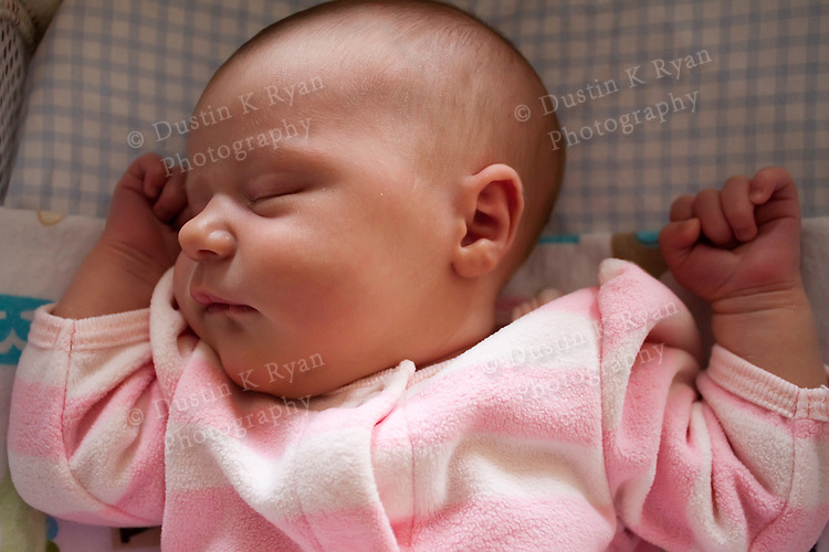 Infant baby girl weeks old sleeping