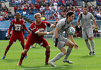 HOOVER, AL - DECEMBER 09, 2012: Caleb Konstanski (22) of Indiana University defends against Andy Riemer (20) of Georgetown University during the NCAA 2012 Men's College Cup championship, at Regions Park, in Hoover , AL, on Sunday, December 09, 2012.
