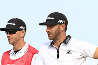 Dustin Johnson (USA) and caddy Austin Johnson on the 15th tee during Thursday's Round 1 of the 145th Open Championship held at Royal Troon Golf Club, Troon, Ayreshire, Scotland. 14th July 2016.<br /> Picture: Eoin Clarke | Golffile<br /> <br /> <br /> All photos usage must carry mandatory copyright credit (&copy; Golffile | Eoin Clarke)