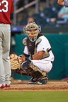 Jupiter Hammerheads catcher Rodrigo Vigil (27) looks to the dugout during a game against the Palm Beach Cardinals on August 13, 2016 at Roger Dean Stadium in Jupiter, Florida.  Jupiter defeated Palm Beach 6-2.  (Mike Janes/Four Seam Images)
