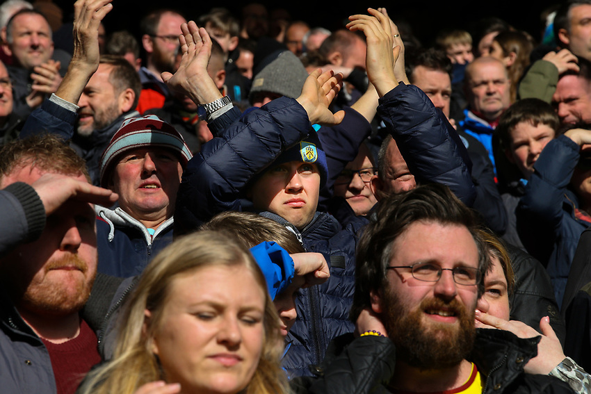 Burnley fans applaud their team<br /> <br /> Photographer Alex Dodd/CameraSport<br /> <br /> The Premier League - Liverpool v Burnley - Sunday 10th March 2019 - Anfield - Liverpool<br /> <br /> World Copyright © 2019 CameraSport. All rights reserved. 43 Linden Ave. Countesthorpe. Leicester. England. LE8 5PG - Tel: +44 (0) 116 277 4147 - admin@camerasport.com - www.camerasport.com