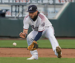 Reno Aces Wyattisen makes the play against the Albuquerque Isotopes at Greater Nevada Field in Reno, Nevada on Tuesday, April 9, 2019.