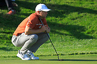 Alex Noren (Team Europe) on the 12th green during Saturday Foursomes at the Ryder Cup, Le Golf National, Ile-de-France, France. 29/09/2018.<br /> Picture Thos Caffrey / Golffile.ie<br /> <br /> All photo usage must carry mandatory copyright credit (© Golffile | Thos Caffrey)