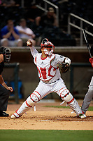 Birmingham Barons catcher Yermin Mercedes (6) throws down to second base during a Southern League game against the Chattanooga Lookouts on May 1, 2019 at Regions Field in Birmingham, Alabama.  Chattanooga defeated Birmingham 5-0.  (Mike Janes/Four Seam Images)