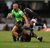 DURBAN, SOUTH AFRICA - MAY 05: S'busiso Nkosi and Lwazi Mvovo of the Cell C Sharks looks to tackle Matt Faddes of the Pulse Energy Highlanders during the Super Rugby match between Cell C Sharks and Highlanders at Jonsson Kings Park Stadium in Durban, South Africa on Saturday, 5 May 2018. Photo: Steve Haag / stevehaagsports.com