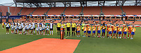 Houston, TX - Saturday July 15, 2017: Opening Ceremonies during a regular season National Women's Soccer League (NWSL) match between the Houston Dash and the Washington Spirit at BBVA Compass Stadium.