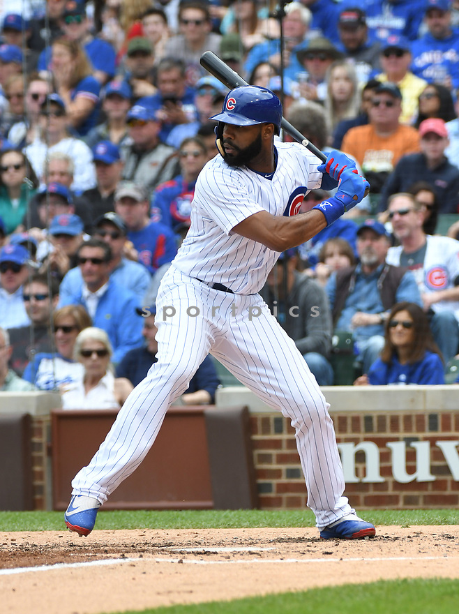 CHICAGO IL - May 21, 2017: Jason Heyward #22 of the Chicago Cubs during a game against the Milwaukee Brewers on May 21, 2017 at Wrigley Field in Chicago, IL. The Cubs beat the Brewers 13-6.(David Durochik/ SportPics)