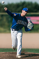 24 May 2009: Matthieu Brelle Andrade of Senart pitches against La Guerche during the 2009 challenge de France, a tournament with the best French baseball teams - all eight elite league clubs - to determine a spot in the European Cup next year, at Montpellier, France. Senart wins 8-5 over La Guerche.