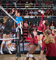 STANFORD, CA - November 2, 2018: Audriana Fitzmorris at Maples Pavilion. No. 1 Stanford Cardinal defeated No. 15 Colorado Buffaloes 3-2.