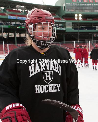 - The Harvard University Crimson practiced at Fenway on Monday, January 9, 2017, in Boston, Massachusetts.