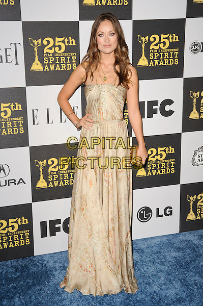 OLIVIA WILDE.The 25th Annual Film Independent Spirit Awards at the LA Live Event Deck in Los Angeles, California, USA..March 5th, 2010  .full length strapless beige gold print printed patterned pattern dress necklace clutch bag maxi hand on hip.CAP/ROT.©Lee Roth/Capital Pictures