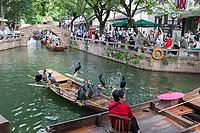 Suzhou, Jiangsu, China.  Comorants Resting on a Boat on a Canal in Tongli Ancient Town near Suzhou, a popular weekend tourist destination.