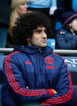 Marouane Fellaini of Manchester United on the bench  during the Barclays Premier League match at The Etihad Stadium. Photo credit should read: Simon Bellis/Sportimage