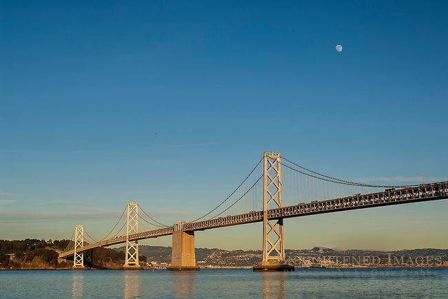Moon over the San Francisco - Oakland Bay Bridge, San Francisco, California