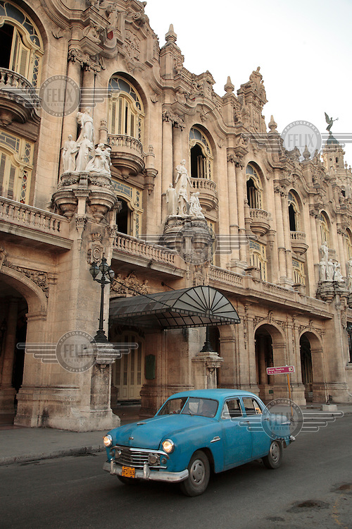 A vintage car in front of the Gran Teatro in central Havana..