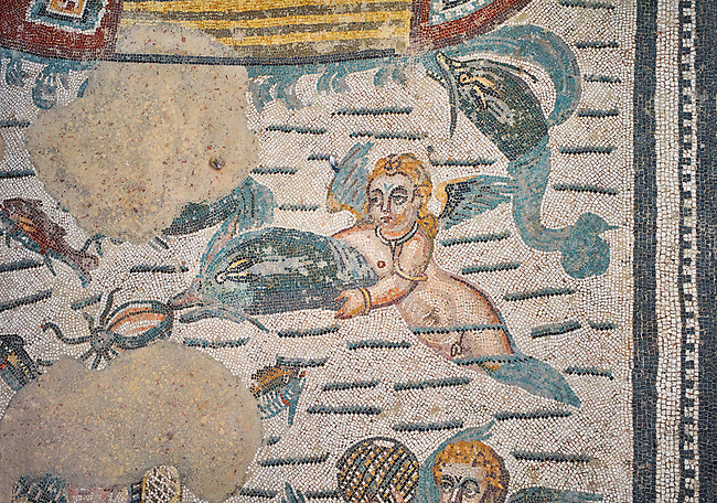 Close up detail picture of the Roman mosaics of the Room of Fishing Cupids depicting cupids a cupid swimming with a dolphin, room no 24  at the Villa Romana del Casale, first quarter of the 4th century AD. Sicily, Italy. A UNESCO World Heritage Site.<br /> <br /> The Fishing cupids room was a dining room for guests of the Villa Romana del Casale. The mosaic floor represents a sea scene with four boats from which cupids are busy fishing. The mosaic depicts sea around the boats abounds with marine life. The mosaic show several Roman fishing techniques using nets, fishing lines, harpoon and fish traps.