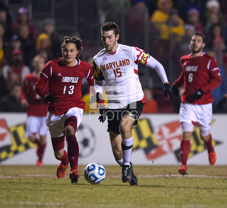 Patrick Mullins (15) of Maryland brings the ball up the field during the game at Ludwig Field in College Park, MD.  Maryland defeated Louisville, 3-1.