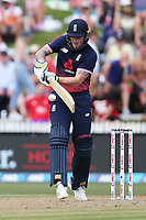England's Ben Stokes batting. New Zealand Blackcaps v England. One Day International Cricket. Seddon Park, Hamilton, New Zealand on Sunday 25 February 2018.<br /> <br /> Copyright photo: &copy; Bruce Lim / www.photosport.nz