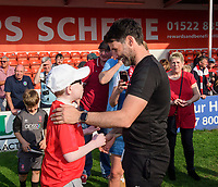 Lincoln City manager Danny Cowley with Jack Nottingham as they celebrate after winning the league<br /> <br /> Photographer Chris Vaughan/CameraSport<br /> <br /> The EFL Sky Bet League Two - Lincoln City v Tranmere Rovers - Monday 22nd April 2019 - Sincil Bank - Lincoln<br /> <br /> World Copyright © 2019 CameraSport. All rights reserved. 43 Linden Ave. Countesthorpe. Leicester. England. LE8 5PG - Tel: +44 (0) 116 277 4147 - admin@camerasport.com - www.camerasport.com