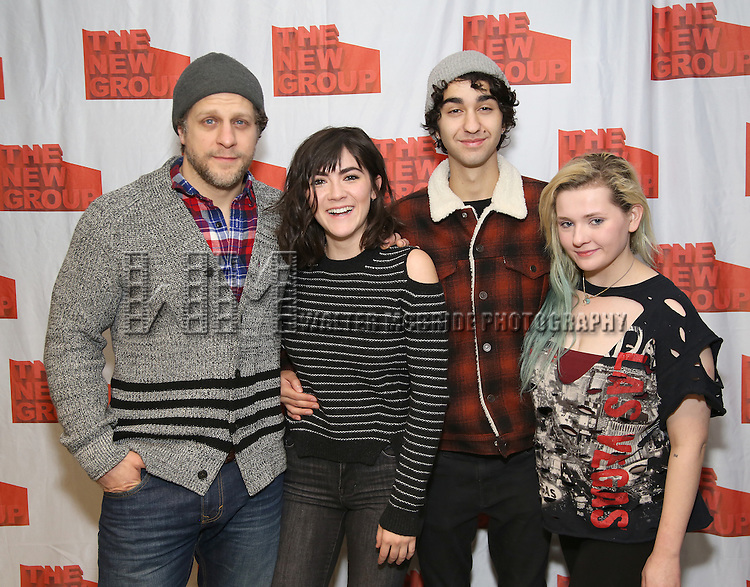 """Joe Tippett, Isabelle Fuhrman, Alex Wolff and Abigail Breslin attend the New Group's """"All the Fine Boys"""" rehearsal photocall at their rehearsal studio on February 3, 2017 in New York City."""