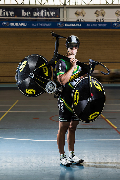 Australian Track  Sprint Cyclist Matt (Mathew) Glaetzer at the Adelaide Super-Drome Velodrome, with his BT Carbon-fibre Track Bike.