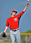 24 February 2012: Washington Nationals' pitcher Ross Detwiler warms up at the Carl Barger Baseball Complex in Viera, Florida. Mandatory Credit: Ed Wolfstein Photo