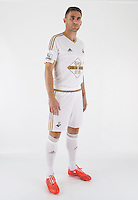 Wednesday 06 May 2015<br /> Pictured: Angel Rangel in home kit.<br /> Re: Swansea City FC new Adidas kit at Fairwood Training Ground.