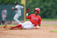 GCL Phillies West Edgar Made (23) slides into second base during a Gulf Coast League game against the GCL Tigers West on July 27, 2019 at the Carpenter Complex in Clearwater, Florida.  (Mike Janes/Four Seam Images)