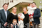Baby Alex with his parents Paula & Philip Lyons, Woodford, Listowel  and brother Jack & sister Sophie and god parents Noel Lyons & Yvonne O'Connor who was christened in Moyvane Church by Fr. Kevin McNamara on Saturday last and afterwards at the Listowel Arms Hotel.