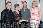 Rory O'Flaherty from Lough Lein Anglers presenting a cheque for €6243 to irish Cancer Society, Killarney South Kerry Branch represented by Eugene O'Sullivan, Kathleen O'Shea and Katherina Breen in the Dromhall Hotel Killarney last Sunday night.