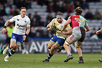 Henry Thomas of Bath Rugby takes on the Harlequins defence. Aviva Premiership match, between Harlequins and Bath Rugby on March 2, 2018 at the Twickenham Stoop in London, England. Photo by: Patrick Khachfe / Onside Images