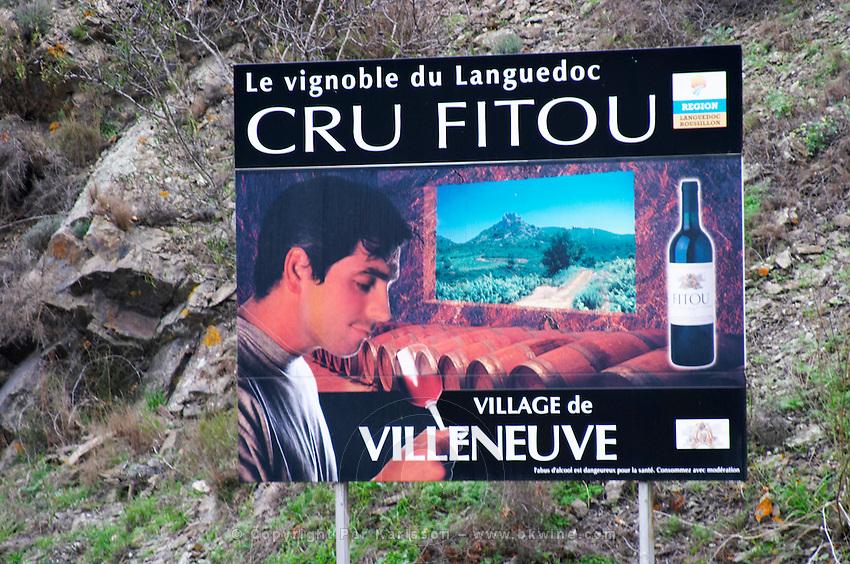 Le Vignoble du Languedoc Cru Fitou, The Fitou vineyards in Languedoc. The Villeneuve village. Fitou. Languedoc. France. Europe.