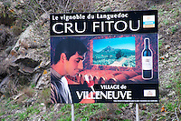 Le Vignoble du Languedoc Cru Fitou, The Fitou vineyards in Languedoc. The Villeneuve village. Fitou. Languedoc. France. Europe.