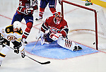 24 September 2009: Montreal Canadiens' goaltender Jaroslav Halak lets in Boston's tying goal at the Bell Centre in Montreal, Quebec, Canada. The Bruins edged out the Canadiens 2-1 after an overtime shootout in a pre-season matchup. Mandatory Credit: Ed Wolfstein Photo