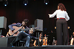 Daniel Casares and Orquesta Sinfonica de Mujeres de Madrid perform on stage during Las Noches Del Botanico at Real Jardin Botanico de Alfonso XIII on July 17, 2019 in Madrid, Spain.(ALTERPHOTOS/ItahisaHernadez)