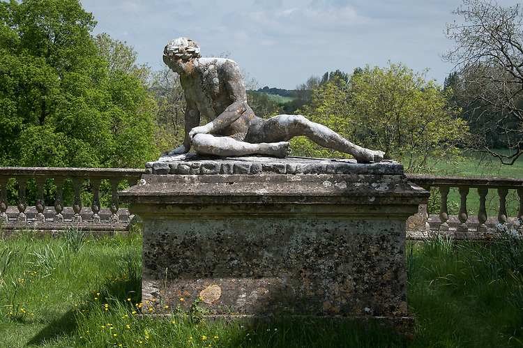Dying Gladiator sculpture by Peter Scheermakers (c. 1743) on the Praeneste Terrace, Rousham House and Garden.