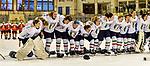 09.01.2020, BLZ Arena, Füssen / Fuessen, GER, IIHF Ice Hockey U18 Women's World Championship DIV I Group A, <br /> Ungarn (HUN) vs Italien (ITA), <br /> im Bild lautstark singen die Italienerinnen ihre Nationalhymne, im Hintergrund die enttaeuschten Ungarinnen<br /> <br /> Foto © nordphoto / Hafner
