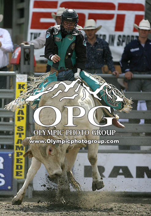 29 Aug 2010: D.J. Domangue was not able to score while riding the bull War God during the first round of the Seminole Hard Rock Extreme Bulls competition at the Kitsap County Stampede in Bremerton, Washington.