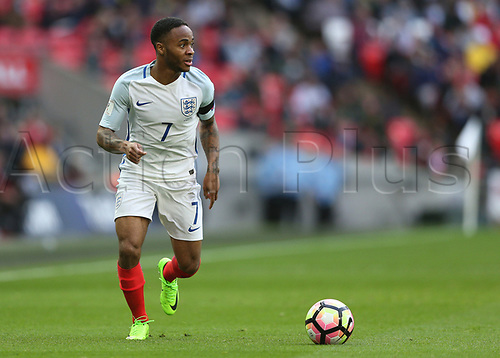 March 26th 2017, Wembley Stadium, London, England; World Cup 2018 Qualification football, England versus Lithuania; Raheem Sterling of England brings the ball forward