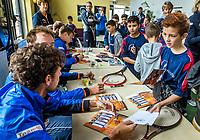 The Hague, The Netherlands, September 13, 2017,  Sportcampus , Davis Cup Netherlands - Chech Republic, Streettennis with Davis Cup Team<br /> Photo: Tennisimages/Henk Koster