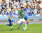10.09.2017, OLympiastadion, Berlin, GER, 1.FBL, Hertha BSC VS. SV Werder Bremen, im Bild <br /> Niklas Stark (Hertha BSC Berlin #5), Mathew Lecki (Hertha BSC Berlin #11), Max Kruse (Werder Bremen)<br /> <br /> <br />       <br /> Foto &copy; nordphoto / Engler