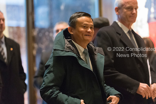 Jack Ma, Founder and Executive Chairman of Alibaba, is seen is seen upon his arrival at Trump Tower for a meeting with President-elect Trump, in New York, NY, USA on January, 9, 2017. <br /> Credit: Albin Lohr-Jones / Pool via CNP