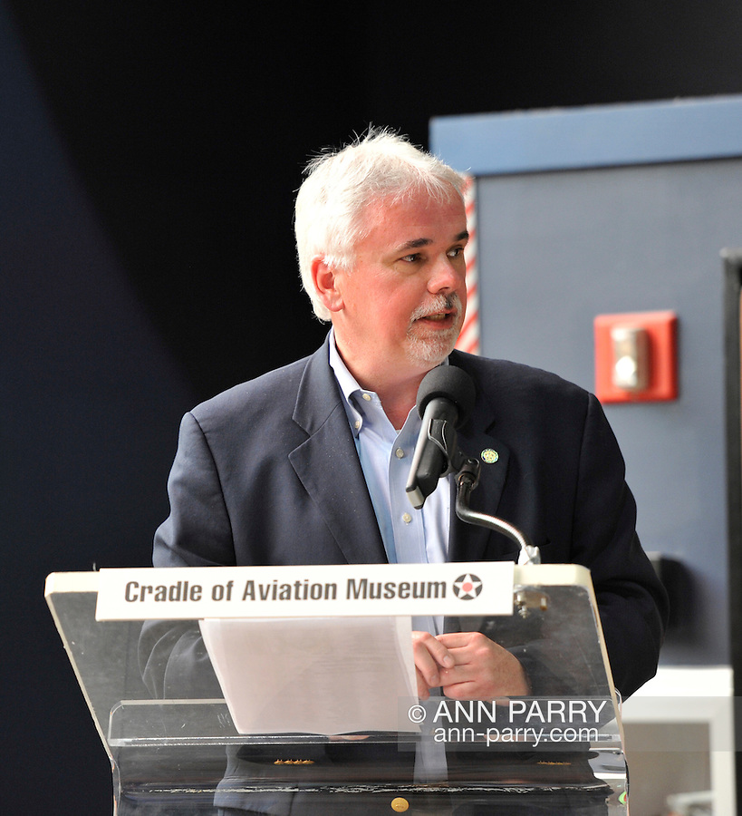 Andy Parton, Executive Director of Cradle of Aviation Museum, during 85th anniversary celebration of Charles Lindbergh's historic solo flight across Atlantic, on Saturday May 19, 2012, at Cradle of Aviation museum, Long Island, New York. Panelists Erik Lindbergh - the famous aviator's grandson, Larry Williams, Martha King and John King discussed the significance of the 1927 flight of C. Lindbergh's Spirit of St. Louis which started at nearby Roosevelt Field, and ended at Le Bourget, France, along with future of aviation. Plaque commemorating the flight was rededicated. 10th anniversary of Cradle of Aviation opening and 35th anniversary of Charles A & Anne Morrow Lindbergh Foundation were also celebrated.