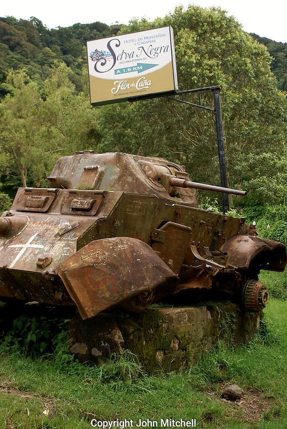 Abandoned tank at the entrance to Finca Selva Negra near Matagalpa, Nicaragua. This Samoza tank was ambushed in 1979 by the Sandinistas.