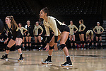 Kylie Long (12) of the Wake Forest Demon Deacons in action against the USC Upstate Spartans in the LJVM Coliseum on September 9, 2017 in Winston-Salem, North Carolina.  The Demon Deacons defeated the Spartans 3-2.   (Brian Westerholt/Sports On Film)