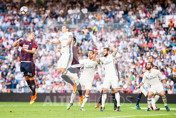 Real Madrid's player Pepe, Cristiano Ronaldo, Nacho Fernandez and Daniel Carvajal and Eibar FC's player Florian Lejeune during a match of La Liga Santander at Santiago Bernabeu Stadium in Madrid. October 02, Spain. 2016. (ALTERPHOTOS/BorjaB.Hojas)